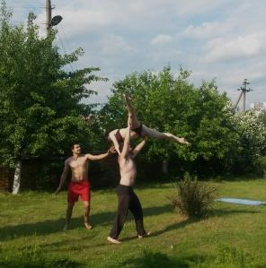 comédiens français en plein air à Minsk
