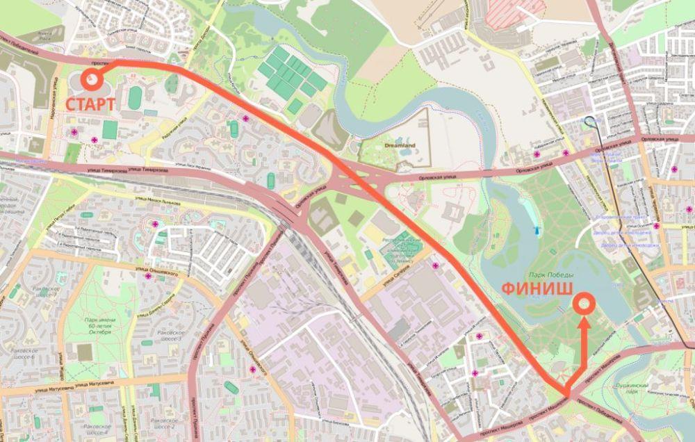 grande course cycliste 1 mai  à Minsk carte