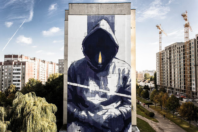mural Man With No Name by Ino in Minsk