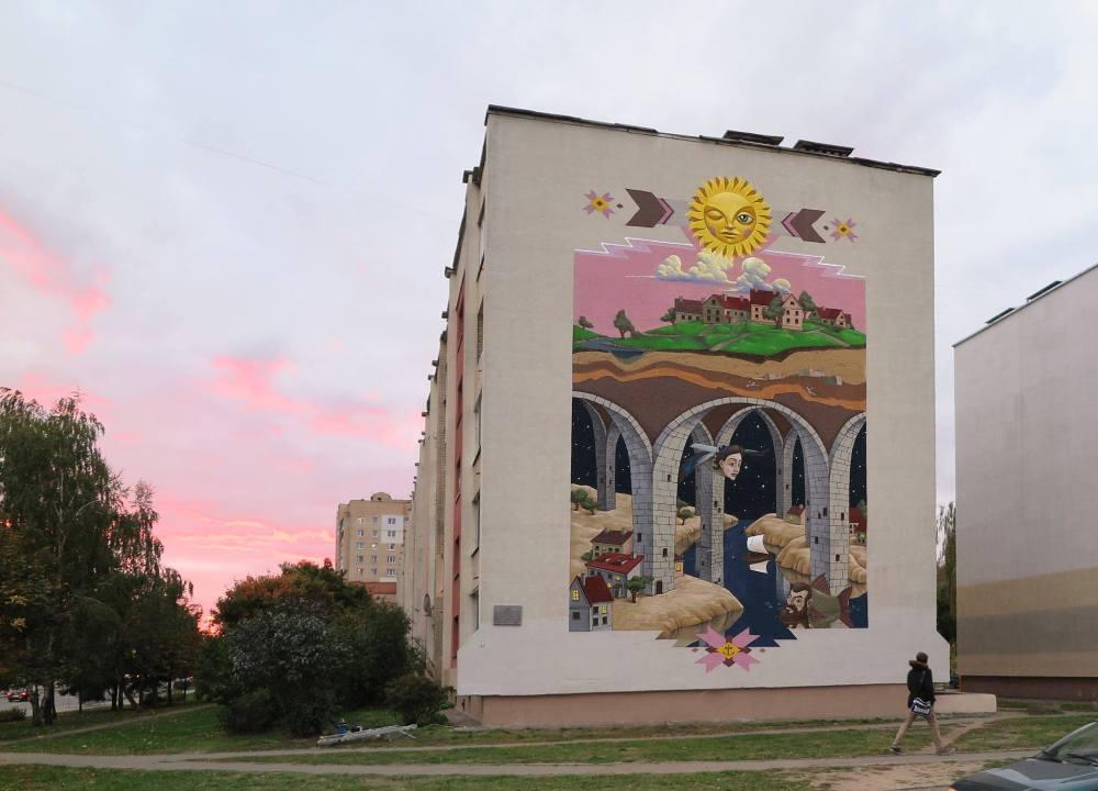 oeuvre de rue par Kislow artiste d'Ukraine, à Minsk projet urbanmyths