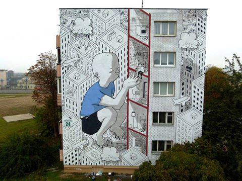 personnage créé par Millo à Minsk art de rue