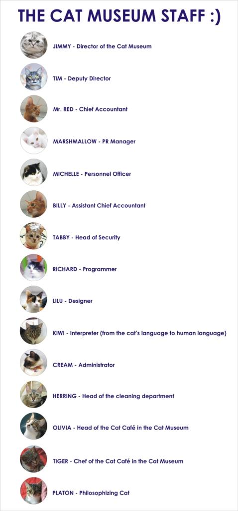 équipe des chats au musée du chat à minsk