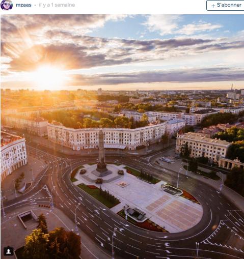 panorama sur la place Pobedy Minsk par mzaas