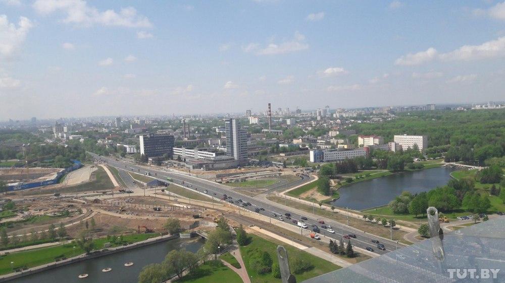 vue sur minsk du haut de la Bibliothèque nationale
