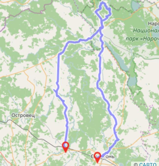 Lacs Bleus Bélarus carte à vélo