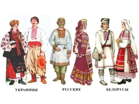 Ukrainiens, Russes, Bélarusses en tenues traditionnelles